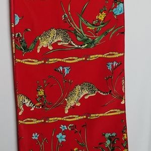 "Red oblong leopard print scarf 64"" long"